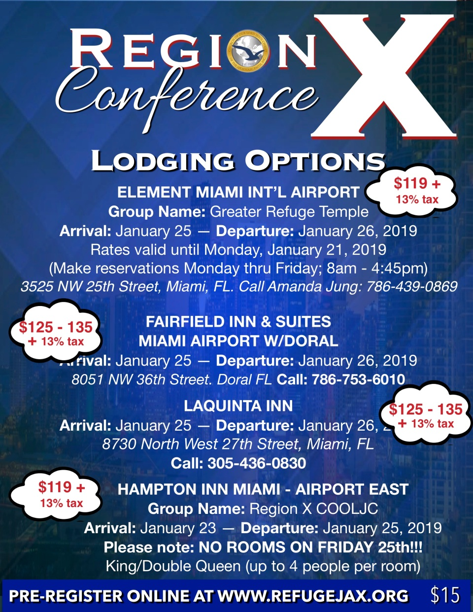 region x conference flyer 2019 lodging