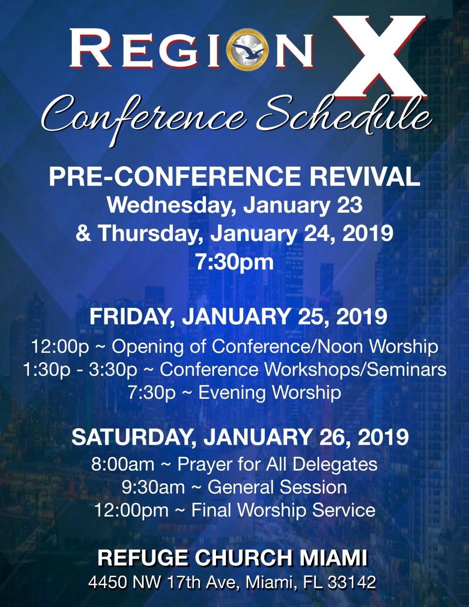 region x conference schedule 2019